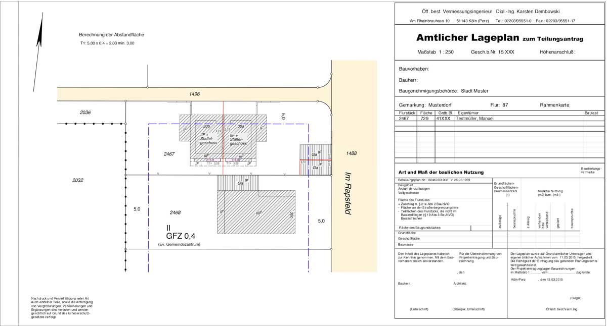 amtlicher lageplan zum antrag auf teilungsgenehmigung vermessungsb ro dembowski. Black Bedroom Furniture Sets. Home Design Ideas